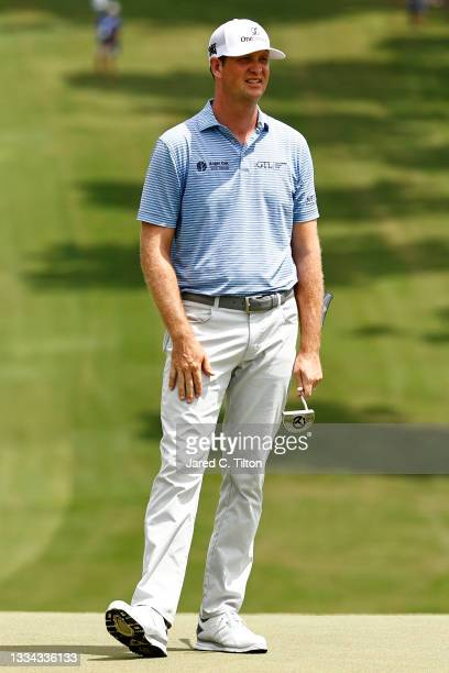 Hudson Swafford of the United States waits on the 18th green during the final round of the Wyndham Championship at Sedgefield Country Club on August...