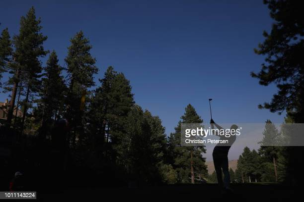 Hudson Swafford plays a tee shot on the 18th hole during the third round of the Barracuda Championship at Montreux Country Club on August 4 2018 in...
