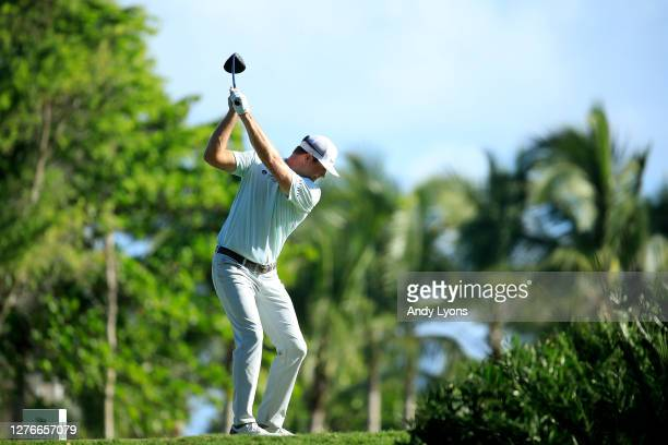 Hudson Swafford plays his shot from the 15th tee during the second round of the Corales Puntacana Resort Club Championship on September 25 2020 in...