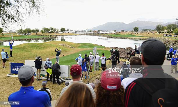 Hudson Swafford plays his shot from the 18th tee during the final round of the CareerBuilder Challenge in partnership with The Clinton Foundation at...