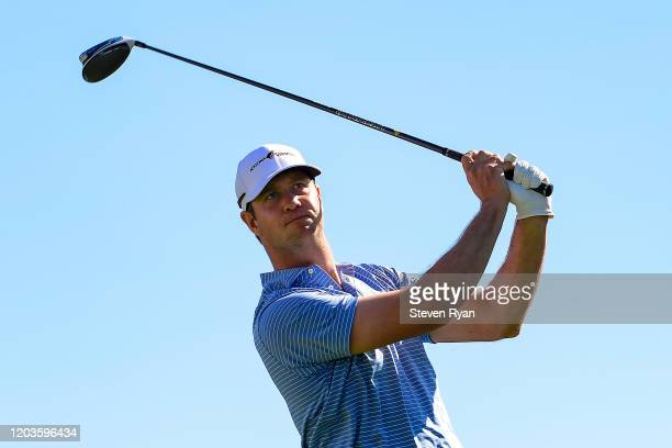 Hudson Swafford plays his shot from the third tee during the final round of the Waste Management Phoenix Open at TPC Scottsdale on February 02, 2020...