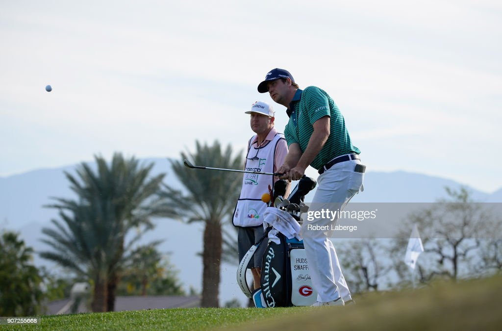 Hudson Swafford plays his shot onto the ninth green during the second round of the CareerBuilder Challenge at the Jack Nicklaus Tournament Course at PGA West on January 19, 2018 in La Quinta, California.