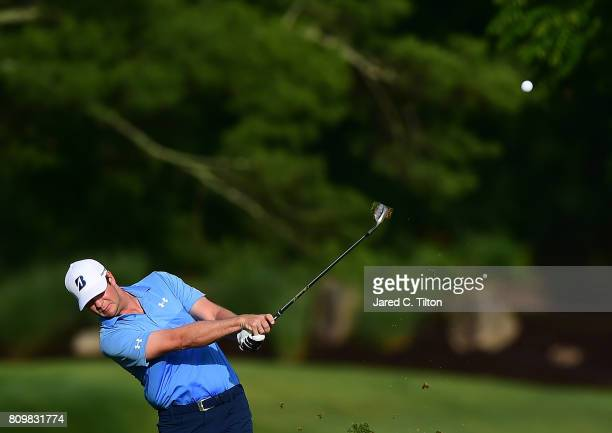 Hudson Swafford plays the 11th hole during round one of The Greenbrier Classic held at the Old White TPC on July 6 2017 in White Sulphur Springs West...