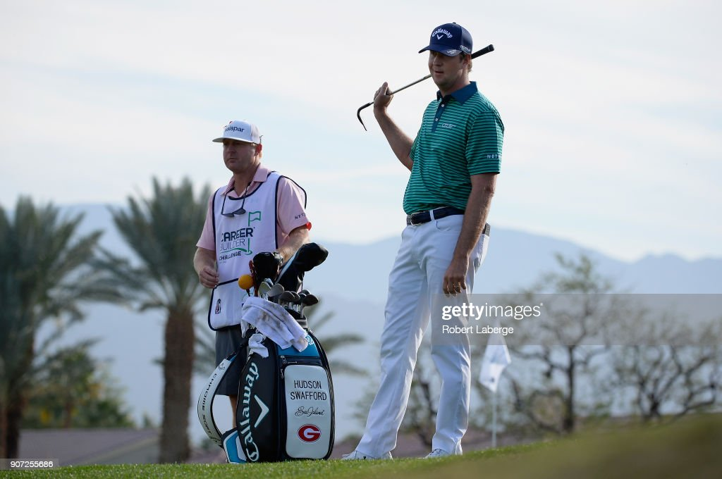 Hudson Swafford prepares to play his shot onto the ninth green during the second round of the CareerBuilder Challenge at the Jack Nicklaus Tournament Course at PGA West on January 19, 2018 in La Quinta, California.