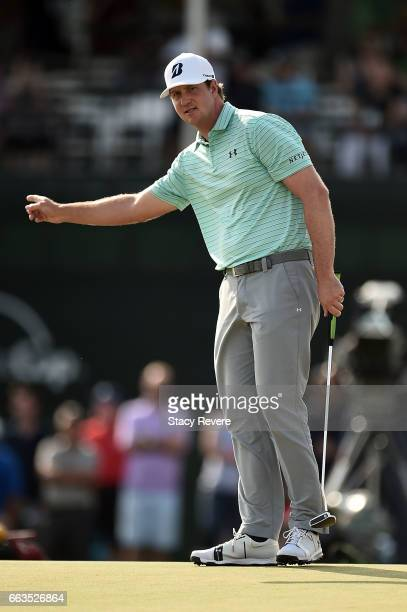 Hudson Swafford reacts to a putt on the 18th green during the third round of the Shell Houston Open at the Golf Club of Houston on April 1 2017 in...