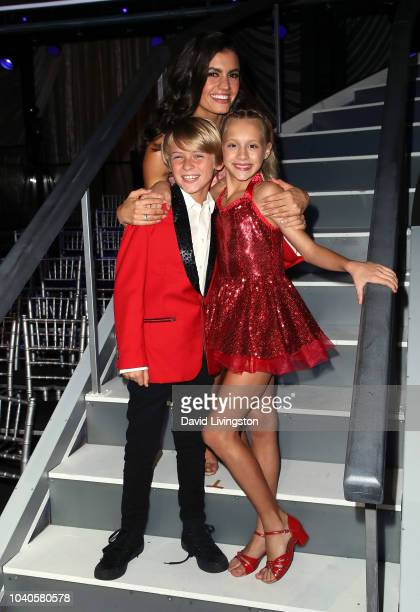 Hudson West Hayley Erber and Kameron Couch from Dancing with the Stars Juniors pose at Dancing with the Stars Season 27 at CBS Televison City on...