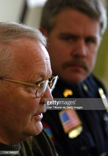 Hudson WI Wednesday 2/6/2002 Hudson MayorJack Breault and Hudson Police Sargent Mary Jensen answered questions about the double murder at the...