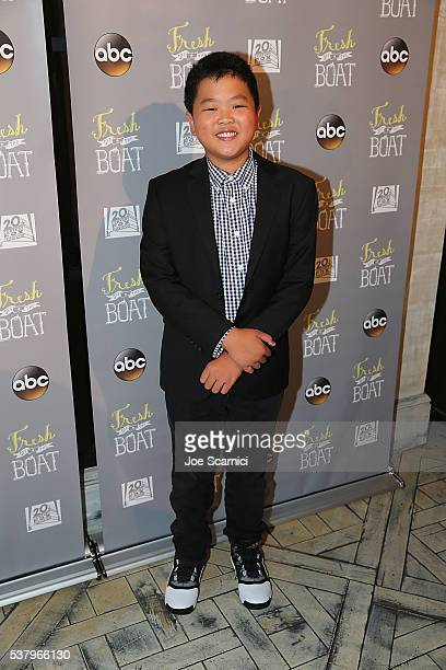 Hudson Yang arrives at the Emmy FYC Event for ABC's Fresh Off The Boat at The London Hotel on June 3 2016 in West Hollywood California
