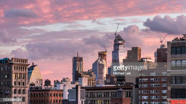 hudson yards sunrise - new york - hudson yards stock pictures, royalty-free photos & images