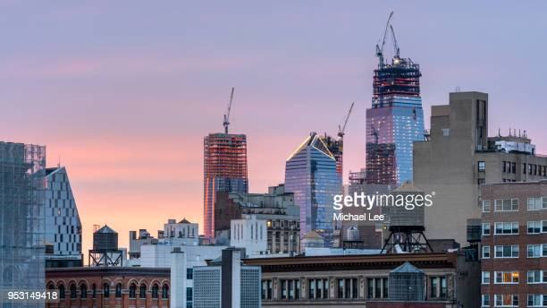 hudson yards sunset - new york - hudson yards stock pictures, royalty-free photos & images