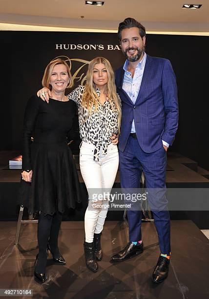 Hudson's Bay president Liz Rodbell Fergie and Roz Weston appear at Hudson's Bay Queen Street to launch her footwear collection on October 14 2015 in...