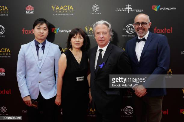Huejie Wang Gen Ling David Redman and Tony Coombes attends the 2018 AACTA Awards Presented by Foxtel at The Star on December 5 2018 in Sydney...