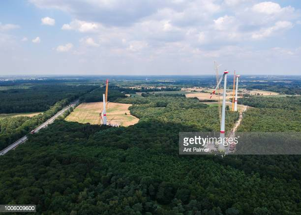 Wind Turbines under construction on July 19 2018 in Hünxe Germany