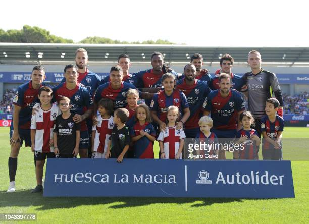 Huesca team during the La Liga match between SD Huesca and FC Girona at El Alcoraz on September 30 2018 in Huesca Spain