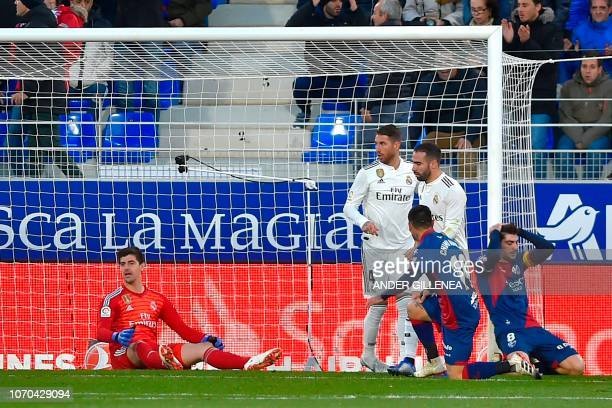 Huesca's Spanish forward Juan Jose Camacho reacts during the Spanish league football match between SD Huesca and Real Madrid CF at the El Alcoraz...
