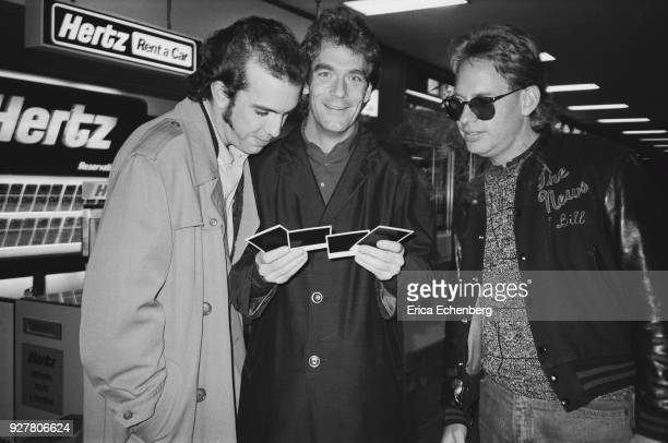 Huey Lewis and The News backstage at childrens' TV music show 'Razzmatazz' at Tyne Tees Television studios Newcastle 1982