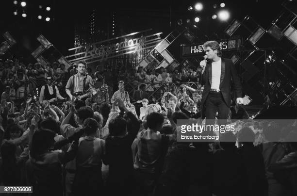 Huey Lewis and The News on the set of childrens' TV music show 'Razzmatazz' at Tyne Tees Television studios Newcastle 1982