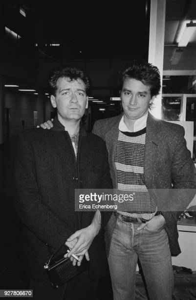 Huey Lewis and The News with 'Kerrang' music journalist Mick Wall backstage at childrens' TV music show 'Razzmatazz' at Tyne Tees Television studios...