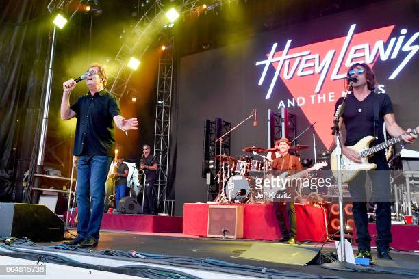 Huey Lewis John Pierce and Stef Burns of Huey Lewis and the News performs at Camelback Stage during day 2 of the 2017 Lost Lake Festival on October...