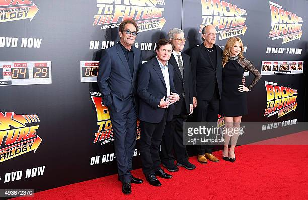 Huey Lewis Michael J fox Bob Gale Christopher Lloyd and Lea Thompson attend 'Back To The Future' New York special anniversary screening at AMC Loews...