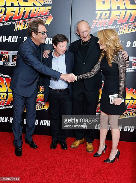 Huey Lewis Michael J Fox Christopher Lloyd and Lea Thompson attend 'Back To The Future' New York special anniversary screening at AMC Loews Lincoln...
