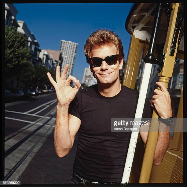 Huey Lewis on a San Francisco cable car for Rolling Stone Magazine
