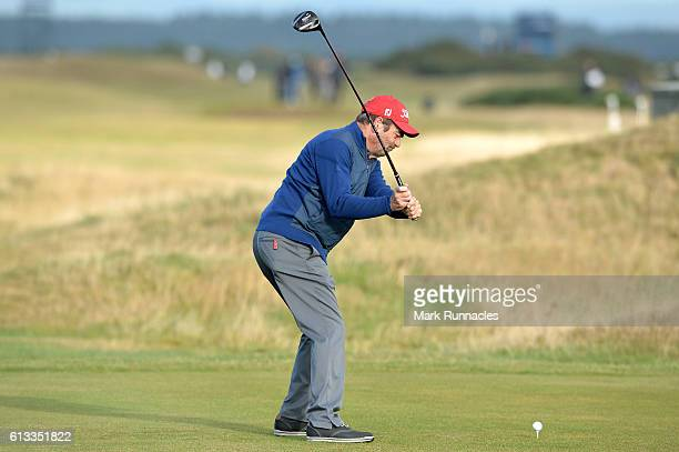 Huey Lewis plays off the third tee during the third round of the Alfred Dunhill Links Championship at The Old Course on October 8 2016 in St Andrews...