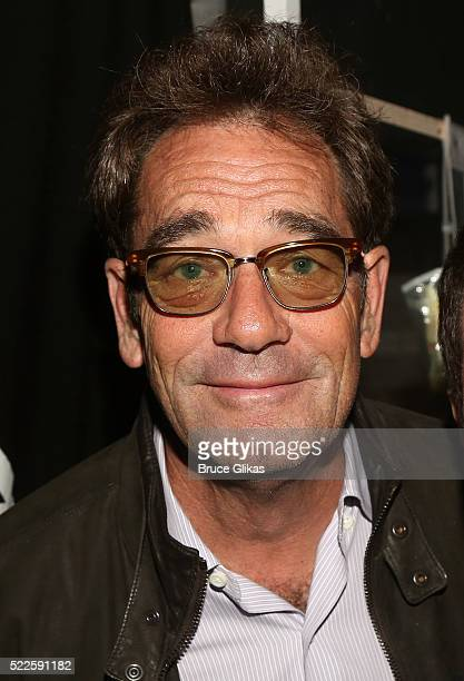Huey Lewis poses backstage at the hit musical based on the cult film American Psycho on Broadway at The Schoenfeld Theatre on April 19 2016 in New...