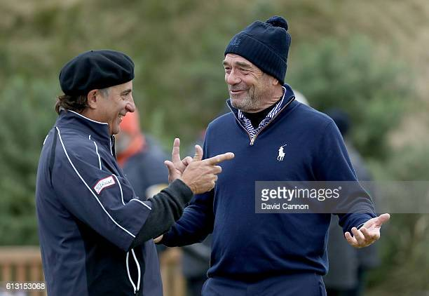 Huey Lewis the American singer and Andy Garcia the American actor enjoying themselves on the first tee during the second round of the Alfred Dunhill...