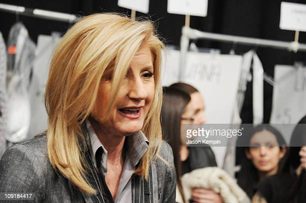 Huffington Post cofounder Arianna Huffington talksl backstage at the Nanette Lepore Fall 2011 fashion show during MercedesBenz Fashion Week at The...