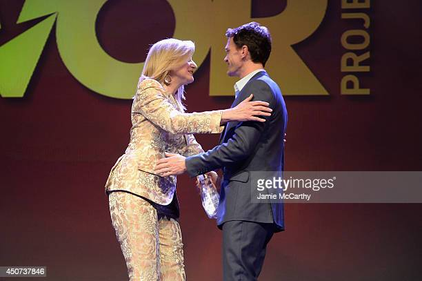 Huffington Post Media Group Arianna Huffington and actor Neil Patrick Harris greet each other onstage at the Trevor Project's 2014 'TrevorLIVE NY'...