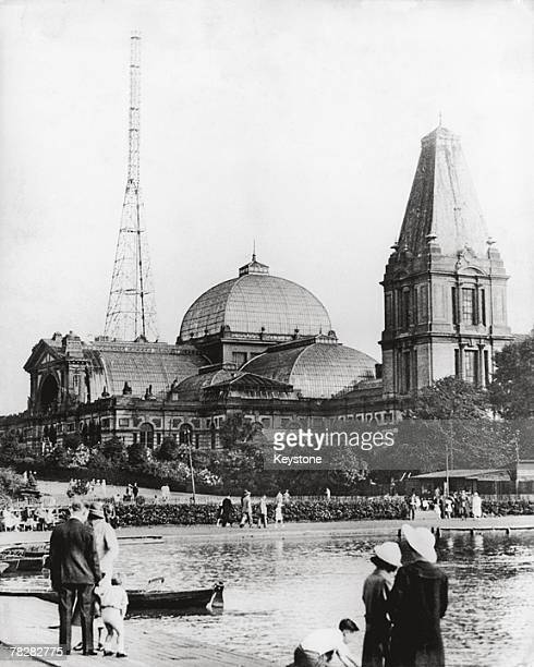 A huge aerial mast atop Alexandra Palace location of a new television station circa 1936