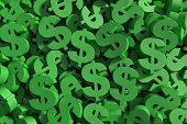 Huge amount of green dollar symbol