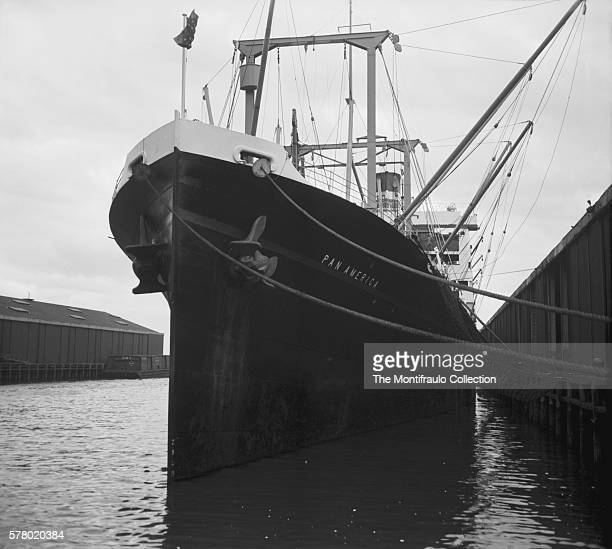 Huge anchors protrude from the bow of the ship Pan America as it docks in New York harbour america circa 1939.
