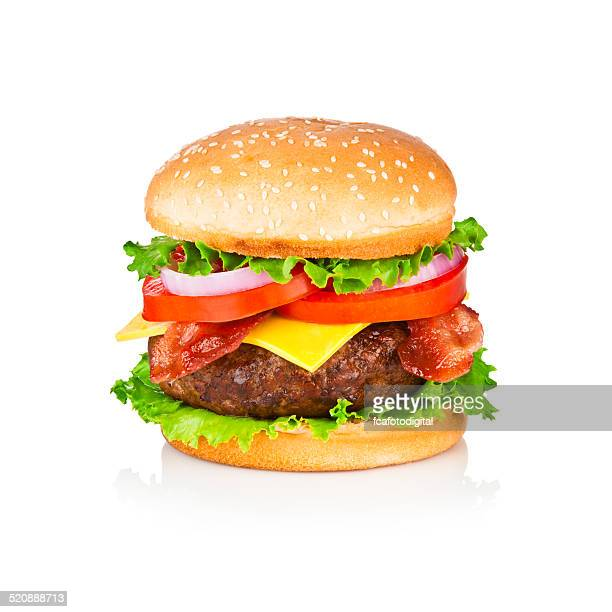 Huge and tasty cheeseburger shoot on white backdrop