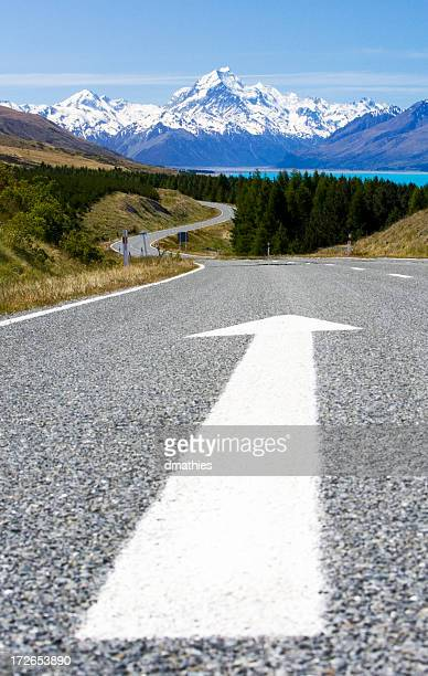 Huge Arrow on Highway Points Toward Mount Cook