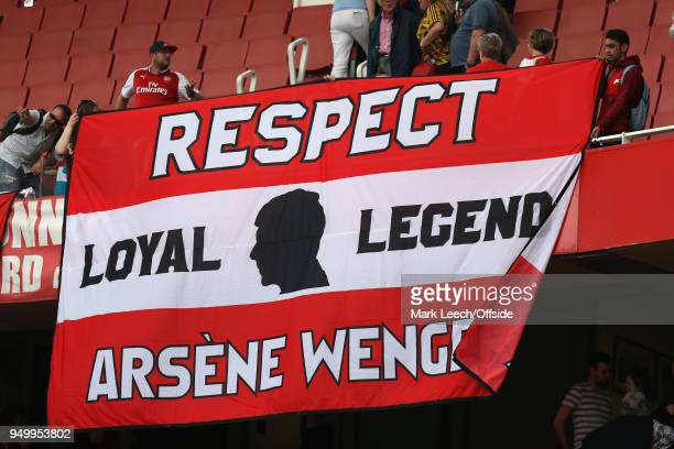 A huge banner in support of Arsene Wenger during the Premier League match between Arsenal and West Ham United at Emirates Stadium on April 22 2018 in...