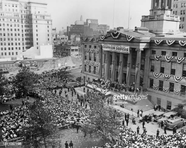Huge banner is draped across the facade of Brooklyn Borough Hall as ceremonies take place on Dodger Victory Celebration Day, in the Brooklyn borough...