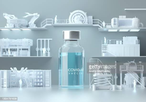 huge bottle with covid-19 vaccine standing in the middle of production line - conveyor belt stock pictures, royalty-free photos & images