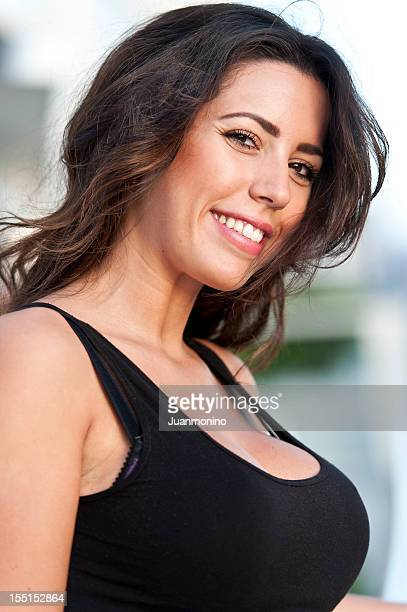 huge breast - huge cleavage stock photos and pictures