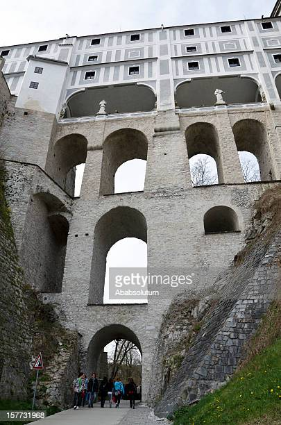 Huge Bridge in Česky Krumlov Castle Europe