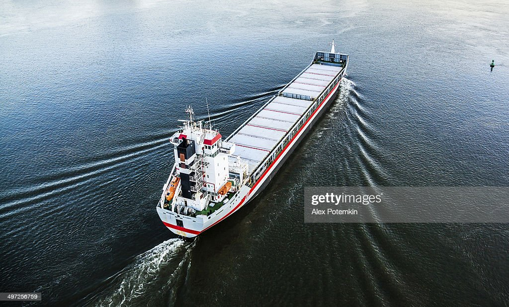 Huge cargo ship at the Hudson River : Stock Photo
