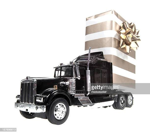 Huge Christmas Present on Semi-Truck, Isolated Background