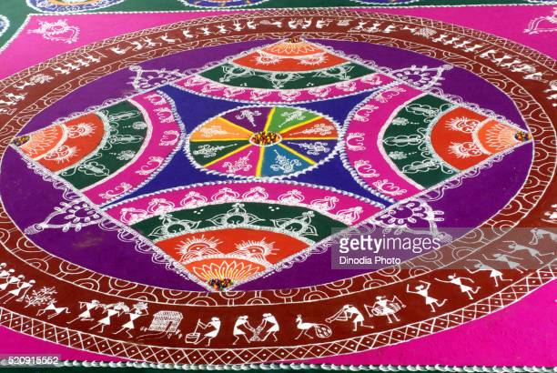 Huge Colourful Free Hand Rangoli for Gudi Padva Thane Mumbai Maharashtra