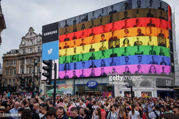 Huge crowd at Piccadilly Circus during the parade. The Pride in London 2019 Parade Day is a London-based event held by Pride in London. It is a...
