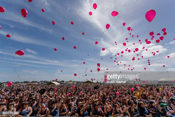 A huge crowd at the Deni muster release balloons for charity during the annual 'Blue Singlet' record attempt at the 2017 Deni Ute Muster on September...