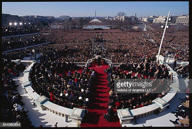 A huge crowd covers the Mall as President Clinton delivers his inaugural address in January 1993