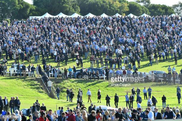 Huge crowd gather on the hill for the start of Race 7 Grand Annual Steeple Chase during the Warrnambool Racing Carnival on May 4 2017 in Warrnambool...