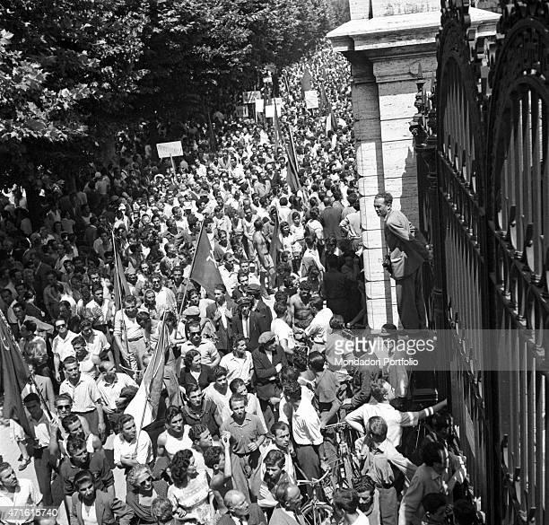 A huge crowd gathered outside the Policlinico Umberto I after Italian politician and General Secretary of Italian Communist Party Palmiro Togliatti...