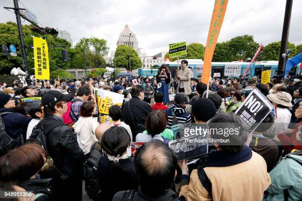 A huge crowd gathers in front of the National Diet Building to protest the Abe administration's handling of various scandals on April 14 2018 in...